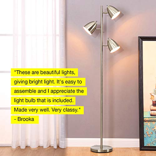 Brightech Jacob - LED Reading and Floor Lamp for Living Rooms & Bedrooms - Classy, Mid Century Modern Adjustable 3 Light Tree - Standing Tall Pole Lamp with 3 LED Bulbs - Satin Nickel by Brightech (Image #5)