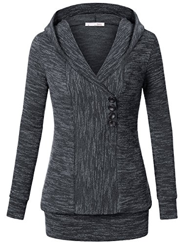 Outerwear Hoodie Tops,Messic Women's Long Sleeve Stylish Knitted Sweater V Neck Chic Pullover Hoodie,Colorful Grey M