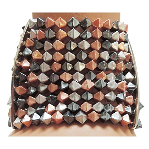 GIRLPROPS 10 Row Elastic Angular Beads Bracelet, Silver, Copper and Gunmetal, Adult, in Multi ()