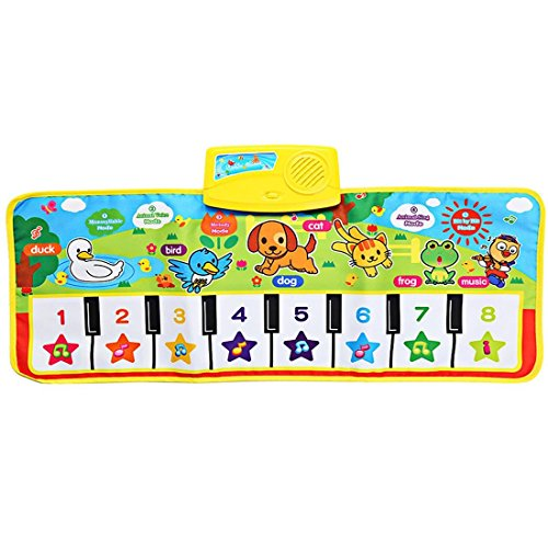 Musical Dance Mat Baby Early Education Music Piano Keyboard Playmat Blanket Touch Play Safety Learn Singing Funny Toy 5 Different Activity Modes 28'' x (Early Dance Music)