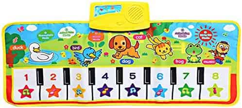Musical Dance Mat Baby Early Education Music Piano Keyboard Playmat Blanket Touch Play Safety Learn Singing Funny Toy 5 Different Activity Modes 28'' x 11''