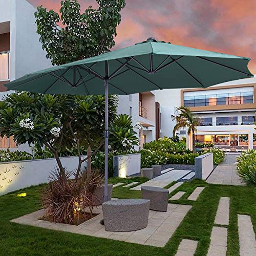 JAXPETY Patio Umbrella Offset 15FT Hanging Outdoor Market Umbrella Yard Garden New (Deep Green) ()