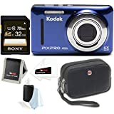 KODAK PIXPRO Friendly Zoom FZ53 Digital Camera (Blue) w/32GB Card & Case Bundle