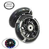 AOWISH 120 mm Light Up/Flash Scooter Replacement Wheels (Pair) with ABEC-7 Bearings for Micro Mini Deluxe Kick Scooters Color Black