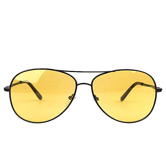 LINNUO Gafas de Sol Hombre Mujer Aviador Polarizadas Avec Cadre en Métal Eyewear Lentes Proteccion UV Sunglasses (Amarillo, Marco Negro, ...