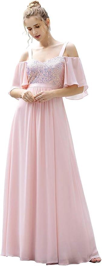 Ever-Pretty Womens Cold Shoulder Short Sleeves Chiffon Empire Maxi Bridesmaid Dresses 00526