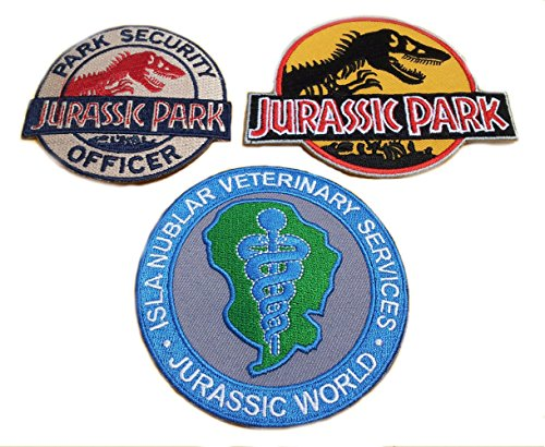 Athena Jurassic Park Movie Logo, Security Officer, and Veterinary (3-Pack) Assorted Embroidered Iron/Sew-on Applique -