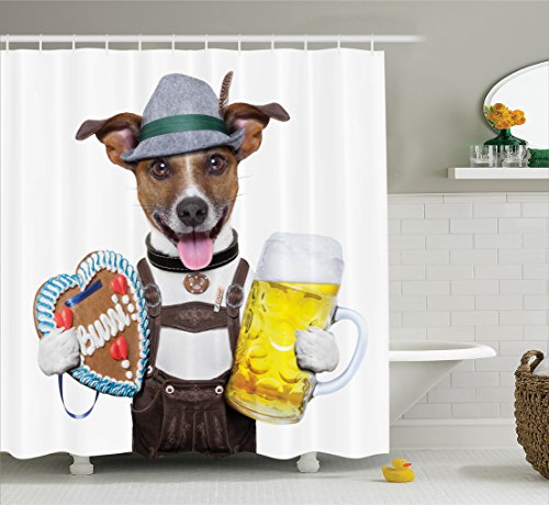Ambesonne Festival Decorations Collection, Oktoberfest Dog with Beer Mug and Gingerbread Heart, Smiling Happy Times Art, Polyester Fabric Bathroom Shower Curtain Set with Hooks, Yellow Brown (Set Gingerbread Mug)