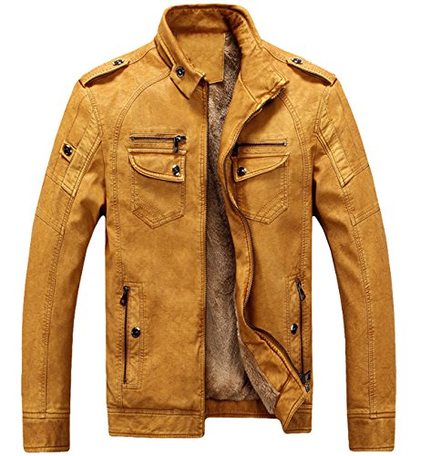 Trensom Men's Vintage Fleece PU Faux Leather Jacket Casual Thick Zip Up Winter Moto Coat Yellow Large