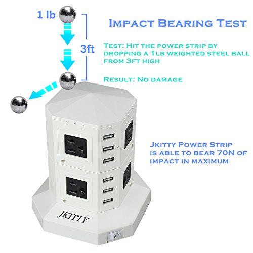 JKitty 8 Outlets 6 USB 8A Total (Each 2.4A Max) Smart Charge 3000W Surge Protector Independent Rocker Switches Stable Standing Power Strip Wall Adapter with 6ft Cable White Photo #9