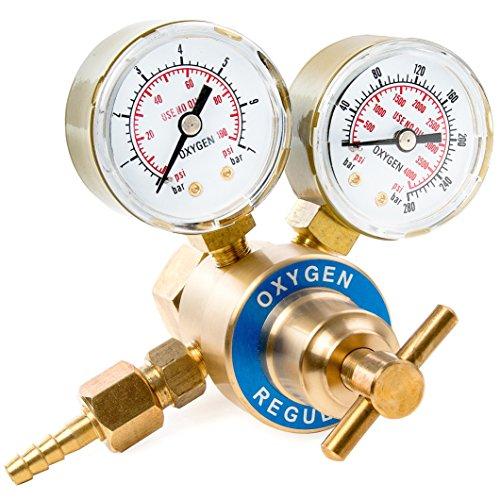 Dual Gauge Oxygen Solid Brass Regulator for Welding Victor Gas Torch Cutting - CGA540 Rear Mount (Parts Oxygen Tank)