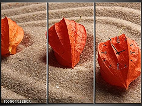 Orologi Da Parete In Tela : Tlg tela foto orologio da parete tre orangene lampion fiori su