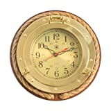 Bey-Berk International Brass Porthole Clock with Rope on Solid Wood – Tarnish Proof For Sale