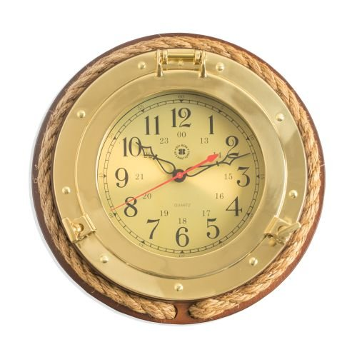 Brass Porthole Clock with - Porthole Quartz Brass Clock