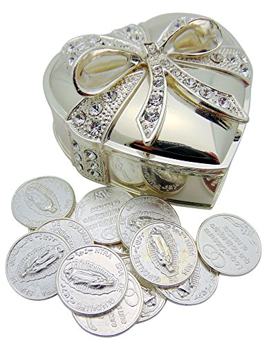 Arras De Boda Metal Heart Shaped Wedding Set with Unity Tokens (Wedding Tokens)