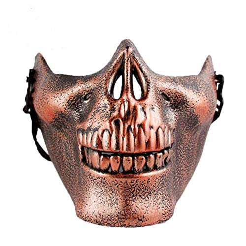 (Tulas Plastic Horror Skull Jaw Mask Terror Half Face Shied Human Skeleton Warrior Ghost Mask for Halloween Party (Copper))