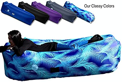 RoQu WellSENSEtials Inflatable Lounger Air Chair Sofa, Hammock, and Bed - Fun & Easy Inflating and Anti-Deflate Technology Best for Traveling, Camping, Picnic, Hiking, Festival, Beach