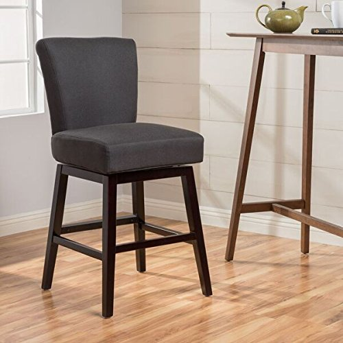Christopher Knight Home Tracy Fabric Swivel Counter stool, Dark Charcoal