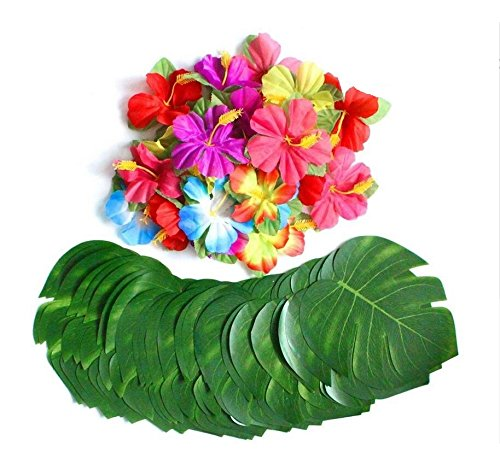 EBTOYS 30pcs Artificial Tropical Palm Leaves with 24pcs Hibiscus Flowers for Hawaiian Luau Party Beach Theme Table - Coconut Decor