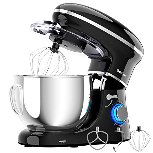 COSTWAY Stand Mixer, 660W Electric Kitchen Food Mixer with 6-Speed Control, 6.3-Quart Stainless Steel Bowl, Dough Hook, Beater, Whisk