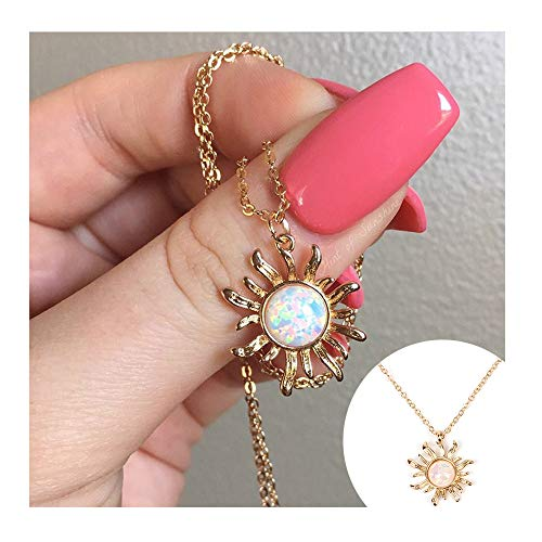 CHOA Cute Sunflower Pendant Necklace for Women Elegant Charm Necklace Fashion Jewelry Clavicle Chain Necklace (Gold Sunflower)