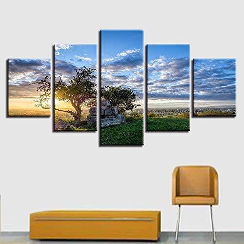 perfecto GUDOJK Pintura sobre Lienzo Él Decoración Moderno Moderno Moderno 5 Paneles Amanecer Árbol Paisaje Vida Ro Wall Art Pictures HD Imprimir pósteres Marco 20x35 20x45 20x55cm  gran descuento
