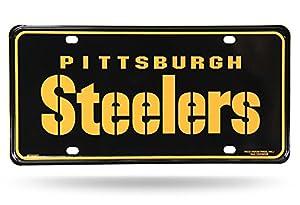"NFL Pittsburgh Steelers ""Team Name"" Metal Auto Tag, Black at Steeler Mania"