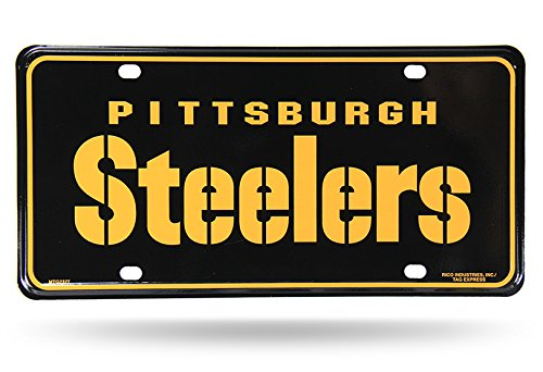 "NFL Pittsburgh Steelers ""Team Name"" Metal Auto Tag, Black at Steeler Mania"