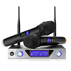 NASUM UHF Dual Channel Professional Handheld Wireless Microphone System with Dual Wireless Dynamic Microphones,LCD…