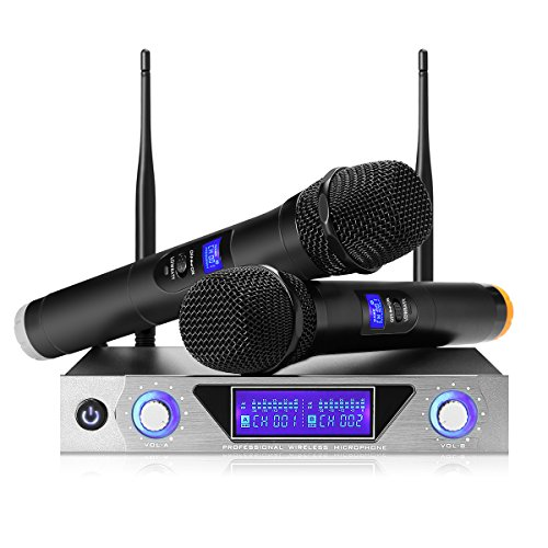 (NASUM UHF Dual Channel Professional Handheld Wireless Microphone System with Dual Wireless Dynamic Microphones,LCD Display Professional Home KTV Set for Party,Meeting,Karaoke,Youtube,Classroom black)