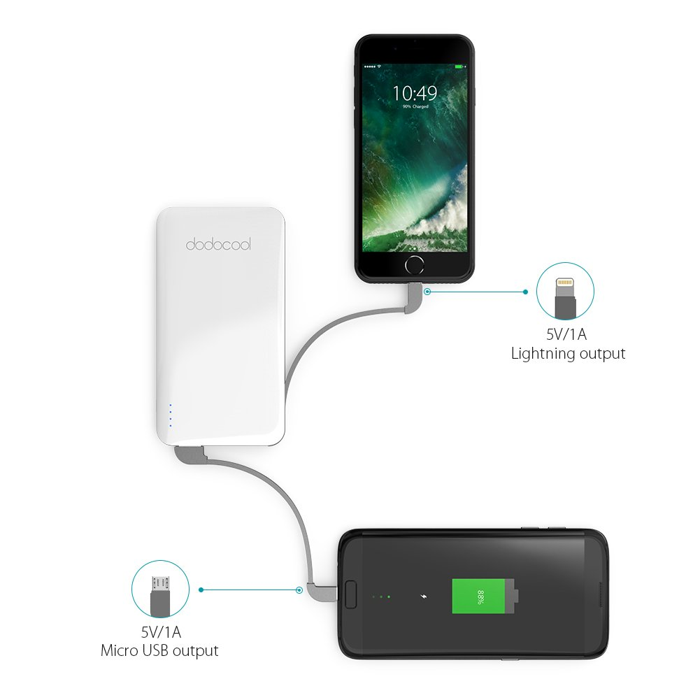 Amazon.com: dodocool MFi Power Bank 5000 mAh 2-Port with Micro-USB ...