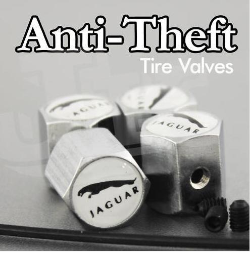 JAGUAR Tire Valves Cap XK XJL S-TYPE Anti-Theft Locking Set of 4 ()