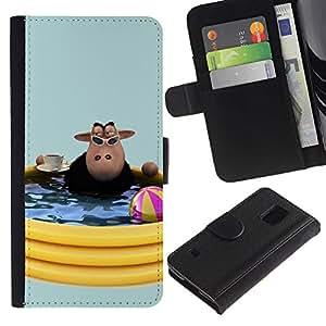 SAMSUNG Galaxy S5 V / i9600 / SM-G900 , la tarjeta de Crédito Slots PU Funda de cuero Monedero caso cubierta de piel ( Cow Pool Party Summer Toys Water Summer)
