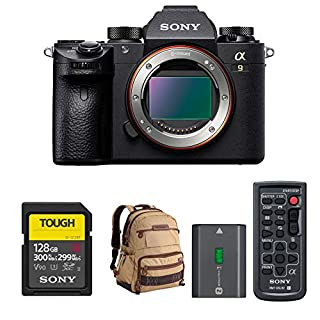 Sony a9 Full Frame Mirrorless Camera with 128GB Card, Camera Backpack and Accessory Bundle