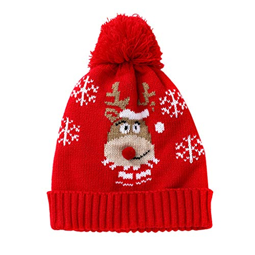 Kids Winter Warm Knit Beanie Hat and Scarf Set 2 Pcs,Crytech Pom Pom Deer Crochet Knitted Slouchy Snow Skull Ski Cap for 1-6 Years Baby Toddler Infant Boy Girl Christmas Accessory Gift (Elk)
