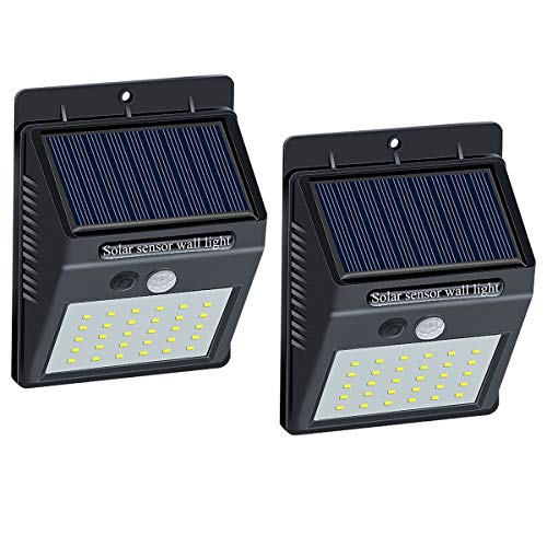 Brinonac 30LEDs Solar Lights Outdoor, Waterproof Wireless Solar Motion Sensor Security LED Wall Lights, with Grade A+ Battery,Solar Light for Outdoor,Front Door,Back Yard,Garage,Porch(2 Pack)