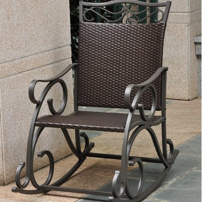 (Lisbon Resin, Wicker and Steel Rocking Chair)