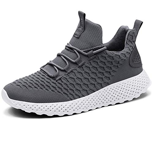 online retailer 8fb1a 69984 LANCROP Men s Walking Gym Shoes-Lightweight Breathable Knit Athletic Running  Sneakers 9 M US Grey