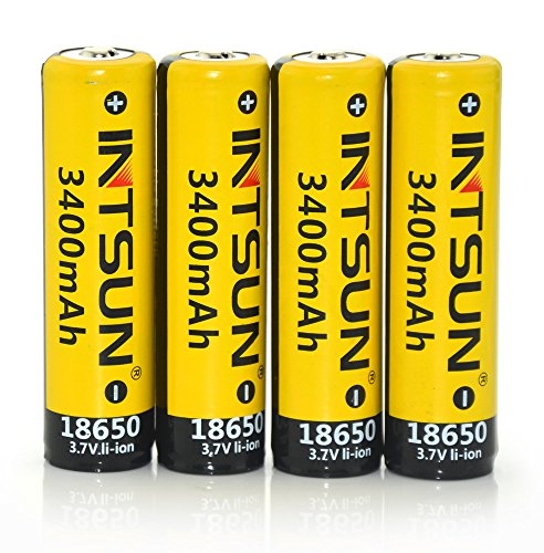 Intsun 4pcs 3.7V 18650 3400mah Rechargeable Li-ion Battery with PCB for LED Flashlight, Headlamps, search light lamp, etc