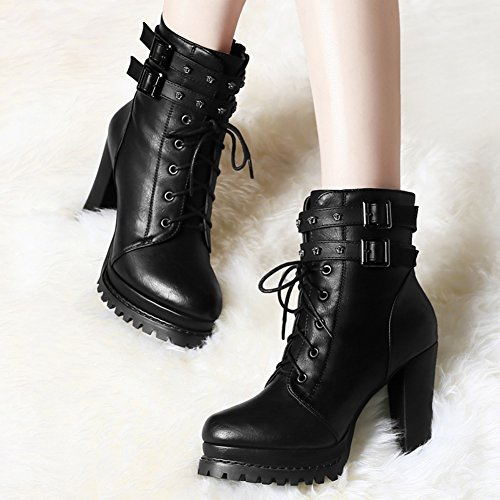 Black Martin Boots Fashion Boots Heel Women's Short BERTERI Lady's Thick xI0Hgq0zw