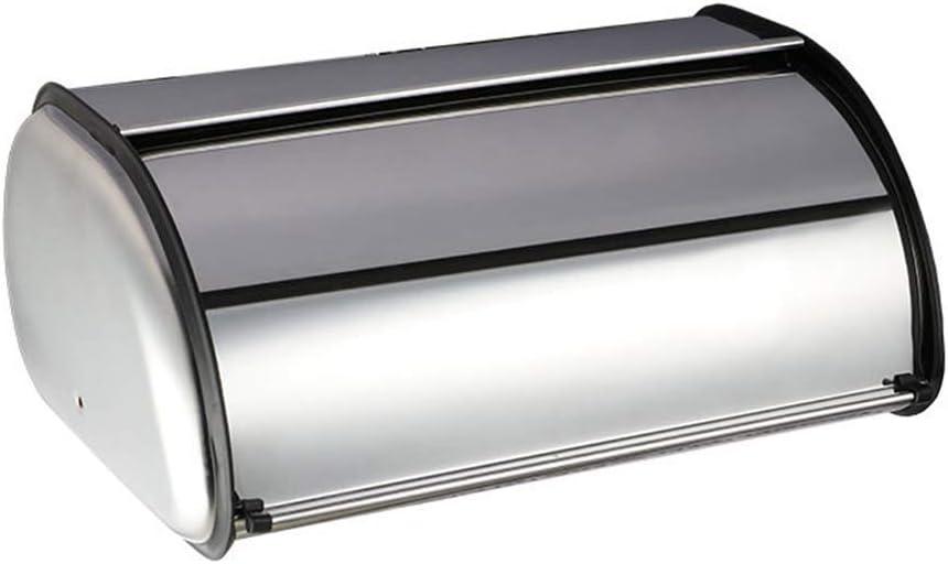 Vosarea Stainless Steel Bread Box Roll Top Storage Box Kitchen Storage Bin Food Container Holder (Silver)
