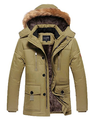 HENGJIA Men's Winter Warm Fleece Lined Coats with Detachable Hooded Windbreaker Jacket Khaki US X-Small(Asian L) - Mens Khaki Windbreaker