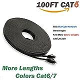 BlueCube - CAT6 Ethernet Cable ,100 Feet RJ45 Flat Ethernet Patch Cable, Internet Cable, Network Cable with Snagless RJ45 Connectors - 100 Feet Black