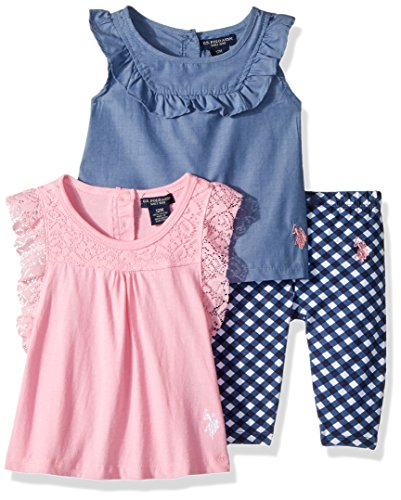 U.S. Polo Assn. Baby Girls Knit Fashion Top and Pant Set, Ruffle Tops Check Legging Prism Pink, 24M - Knit Ruffle Pants