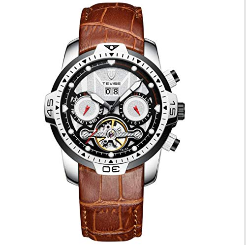 omatic Dial Watch Mechanical Tourbillon Waterproof Genuine Leather Strap Business Watch T816A,White ()