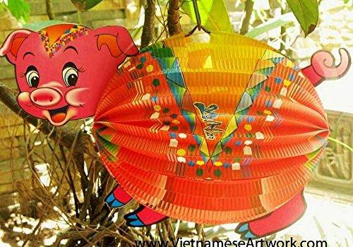 Vietnamese Animal Lantern - Hand Made Paper Lantern (Pig)