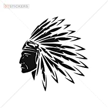Decal Stickers Native American Chief Motorbike Boat (14 X 12,9 In. ) Vinyl color Black