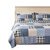 SLPR Blue Symphony 2-Piece Real Patchwork Cotton Quilt Set (Twin) | with 1 Sham Pre-Washed Reversible Machine Washable Lightweight Bedspread Coverlet