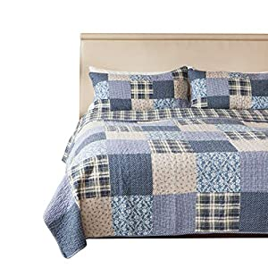 SLPR Blue Symphony 3-Piece Real Patchwork Cotton Quilt Set (King) | with 2 Shams Pre-Washed Reversible Machine Washable Lightweight Bedspread Coverlet