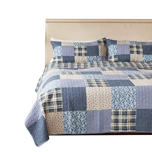 SLPR Blue Symphony 3-Piece Real Patchwork Cotton Quilt Set (Queen) | with 2 Shams Pre-Washed Reversible Machine Washable Lightweight Bedspread Coverlet